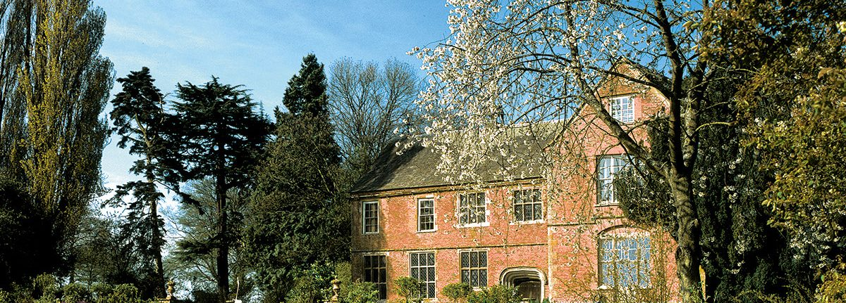 Hellens Manor, in Much Marcle, Herefordshire showing spring blossom