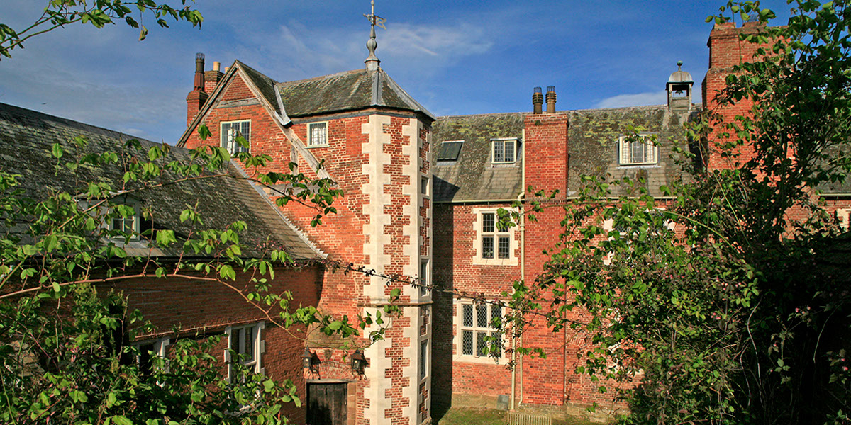 Audley Tower and the Courtyard at Hellens Manor, Much Marcle, Herefordshire